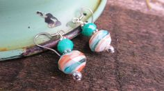 Drop Earrings Turquoise and Orange and Silver by oldandnewboutique