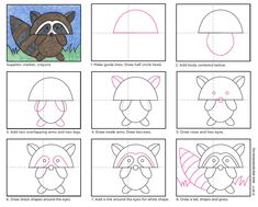 Draw an Easy Raccoon · Art Projects for Kids Raccoon Drawing, Raccoon Art, Easy Drawings Sketches, Doodle Drawings, Drawing For Kids, Art For Kids, Art Sub Lessons, Grade 1 Art, Kindergarten Art Projects
