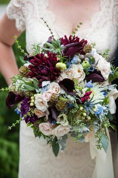 Romantic lush fall wedding bouquet idea - greenery, including dahlias, roses, scabiosa pods and calla lilies, berries {Corey Cagle Photography}
