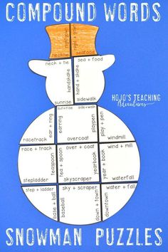 Your kids are going to love focusing on literacy skills during the winter months with this great compound words snowman review puzzle. Great for December, January, or anytime there's snow on the ground. Match 18 different compound words to the two words that create it. Perfect for the 3rd, 4th, or 5th grade homeschool or classroom. (Year 3, 4, 5, third, fourth, fifth graders, home school)