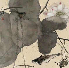 A Master 's Appreciation of Zen Painting Sumi E Painting, Lotus Painting, China Painting, Lotus Kunst, Lotus Art, Japanese Painting, Japanese Art, Art Asiatique, Tinta China