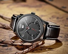 BUREI® Men's BM-3033-CO6 Date Stainless Steel Dress Watch with Black Leather Strap and Black Face Price:$54.99