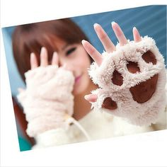 2017 Hot Sale Winter Women Gloves Fluffy Bear Paw Claw Fingerless Cute Toweling Gloves Mittens Christmas Birthday Gift ST001