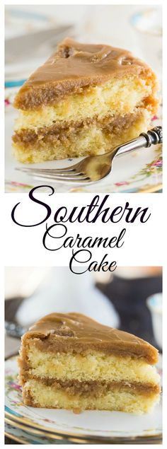 Southern Caramel Cake - 2 layers of moist yellow cake covered with a super sweet caramel icing. #cakes