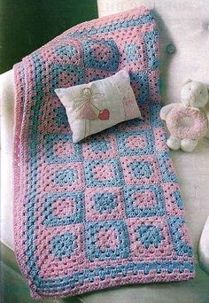 Blue and Pink Square Baby Blanket free crochet graph pattern