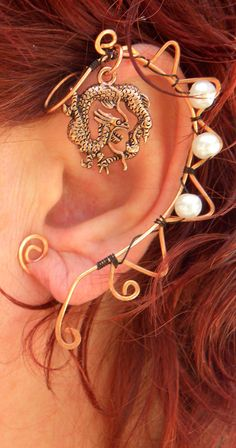 $19.99 Game of Thrones Daenerys House Targaryen Ear Cuff by TrinketsandWhimsey - Wire wrapped Dragon Earcuff