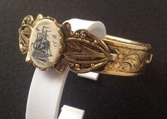 SCRIMSHAW SAIL Boat VTG Cuff Bracelet Art Cuff by NYVintageCouture