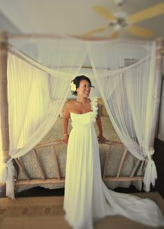 wedding dress hawaii beach theme tropical. Almost exactly what I want my dress to look like minus the flowers...I want silk ones.