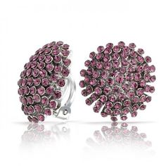 Bling Jewelry Starburst Amethyst Color Purple Crystal Clip On Cluster Earrings
