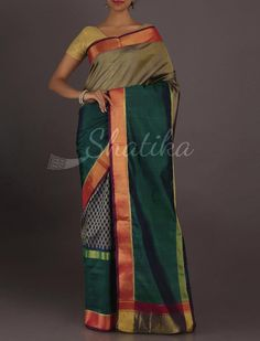 Asha Designer Half And Half Gold Border Pure #PatolaSilkSaree