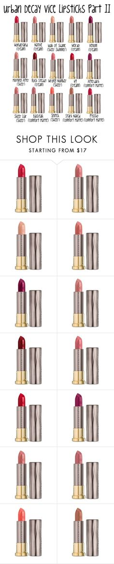 """Urban Decay Vice Lipsticks Part II!"" by aechau ❤ liked on Polyvore featuring beauty and Urban Decay"