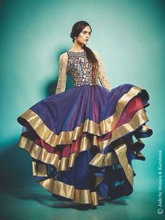 AMAZING blue/purple with gold Anarkali