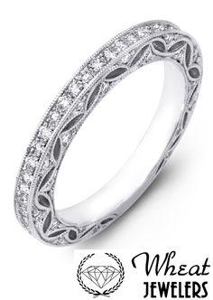 Vintage Style Filigree Diamond Wedding Band available at Wheat Jewelers #weddingring #diamond #married