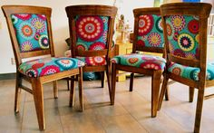 Pimpen stoelen Pimpen is part of Upcycled dining chairs - Decor, Funky Furniture, Funky Chairs, Dining Room Chairs, Boho Dining Chairs, Furniture Upholstery, Painted Chairs, Furniture Makeover, Upholstered Chairs