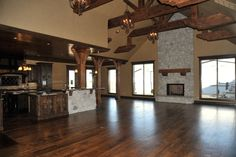 open kitchen and living room I LOVE the large space for entertaining. Such a dream home!!