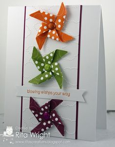 Ritas Creations: Retro Pinwheels - they show them on a handmade card and they look really great that way - but I'm not a cardmaker.  So I would use these cute little pinwheels to dress up gift packages!