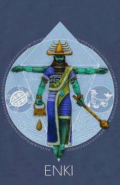 Ancient Sumerian god Enki Artist: Kevin Gardin  http://mythosmesopotamiavol1.kevingardin.com/