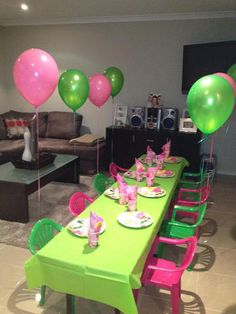 Balloons on chairs  Tinkerbell Party
