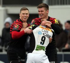 Danny Care, Chris Ashton and Owen Farrell Play fighting
