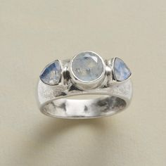 MOON TRILOGY RING--Bold and beautiful, a three-stone sterling silver ring set with a trio of lightly faceted rainbow moonstones, held in deep sterling silver bezels. Exclusive. Whole sizes 5 to 9.