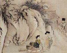 (Korea) Gossiping at the well at night, 1805 by Shin Yun-bok ? colors on paper. Korean Painting, Japanese Painting, Korean Traditional, Traditional Art, Korean Picture, Asian Artwork, Korean Design, Korean Hanbok, Old Paintings