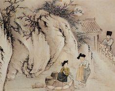 <정변야화, 신윤복>  그림 우측에서 우물가의 두 아낙을 음흉한 표정으로 보는 양반