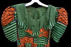 African clothing authentic Wax printed fabric Ethnic tribal puffy princess sleeve shirt boho chic by SerialMateriaL on Etsy