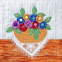 ~ Yo Yo Floral Basket ~ It was an Award Winner....