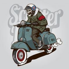 Skeleton riding a scooter Premium Vector Vespa Vector, Vespa Motor Scooters, Vespa Illustration, Silhouette Cameo Free, Girl Skull, Bird Barn, Graffiti Characters, Bike Photography, Background Vintage