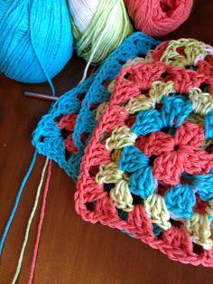 Granny square crochet tutorial. Love the colors.