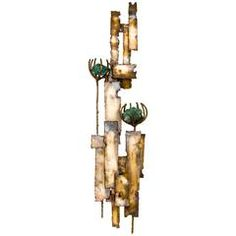 Brutalist Brass and Turquoise Stone Flower Wall Sculpture