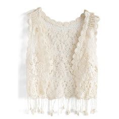 Chicwish Vintage Crochet Vest ($22) ❤ liked on Polyvore featuring outerwear, vests, beige, crochet vests, pink vest, beige vest, tassel vest and vest waistcoat