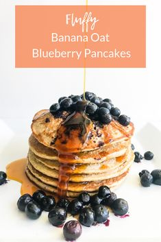 Fluffy Banana Oat Blueberry Pancakes made with 6 simple ingredients | Living Well With Nic