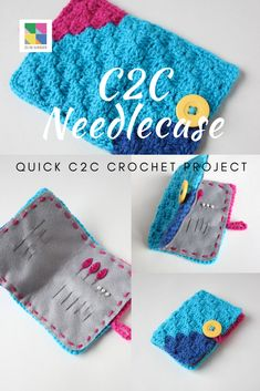 A quick and easy crochet project using the corner to corner stitch. Great for beginner crocheters Quick Crochet Patterns, Easy Crochet Projects, C2c Crochet, Free Crochet, Needle Case, Sewing A Button, Game Design, Hand Stitching, Coin Purse