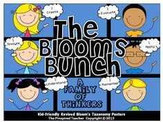 Get your students' minds to bloom into higher-order thinking with The Blooms Bunch: Kid-Friendly Revised Bloom's Taxonomy Posters. Introduce your students to a character for each higher-order thinking level. Blooms Taxonomy Poster, Bloom's Taxonomy, Blooms Taxonomy Display, New Teachers, Elementary Teacher, Teaching Tools, Teacher Resources, Teaching Ideas, Teaching Activities