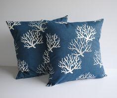 One Coral navy pillow cover, nautical pillow, cushion, decorative throw pillow, decorative pillow, 18x18 by ThatDutchGirlPillows on Etsy
