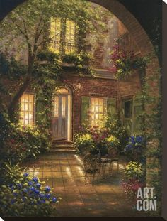 Spring Courtyard I Stretched Canvas Print by J. Martin at Art.com