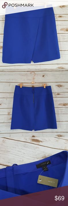 """J. CREW Crossover Wrap Skirt J. Crew Crossover Faux Wrap Skirt. Royal Blue Career Wear. New With Tags Sold Out. Fully lined. Zip Back.   Size: 6   Measurements taken with garment lying flat and are approximate:   Waist: 16""""  Length: 18.5"""" J. Crew Skirts Mini"""
