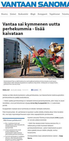 MLL:n Uudenmaan piirin perhekummikampanja Vantaan Sanomissa 23.10.2013. Koko juttu täällä: http://www.vantaansanomat.fi/artikkeli/260758-vantaa-sai-kymmenen-uutta-perhekummia-lisaa-kaivataan