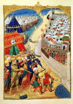 The Turkish forces preparing for battle outside the walls of Rhodes in 1480, from an account written by Guillaume Caoursin and illustrated by the Master of Cardinal of Bourbon, 1483