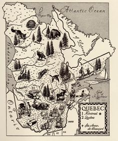 Charming QUEBEC CANADA Map of Quebec WHIMSICAL  Vintage 60s Picture Map  Plaindealing 5242