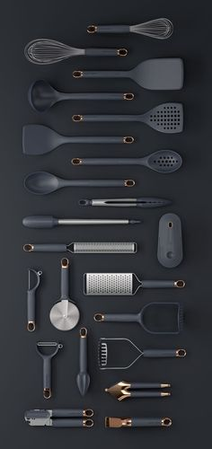 Klicken Sie auf Clack Prep Tools on Behance - Küchengeräte Cute Kitchen, Kitchen Items, Kitchen Decor, Design Kitchen, Kitchen Black, Kitchen Interior, Best Kitchen Gadgets, Gold Kitchen Utensils, Silicone Kitchen Utensils