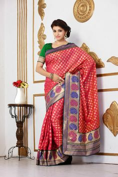 USD 87.47 Pink Brocade Party Wear Saree    33689