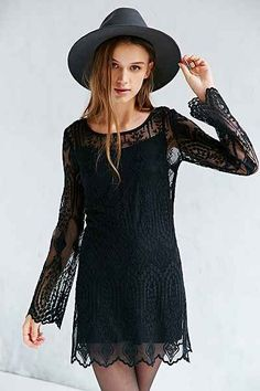 Ecote Embellished Mesh Dress | Urban Outfitters | color- black | size- small
