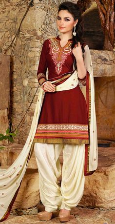 USD 31.68 Maroon Cotton Embroidery Punjabi Suit 44854