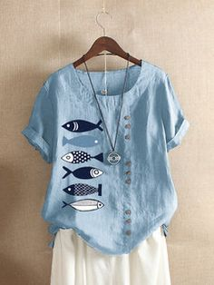 Fashionable Button Cartoon Fish Print Short Sleeve Casual T-shirt Online - NewChic Mobile Trendy Clothes For Women, T Shirts For Women, Linen Tshirts, Fish Print, Style Retro, Casual T Shirts, Printed Shorts, Types Of Sleeves, Short Sleeves