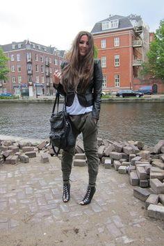green Zara pants - black H&M boots - black SuperTrash jacket - white H&M top