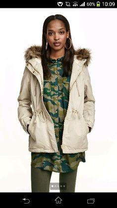 white h&m parka coat