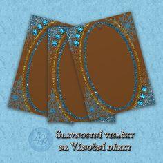 """Visačka Hnědomodré Vánoce"" - sada 16 visaček (""Tag Brown-blue Christmas"" - a set of 16 tags)   approx. $14.83 Cuff Bracelets, Tags, Create, Artwork, Jewelry, Design, Work Of Art, Jewlery, Auguste Rodin Artwork"
