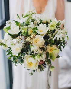 Gorgeous white + green bouquet